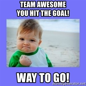 Baby fist - team awesome                      you hit the goal! way to go!