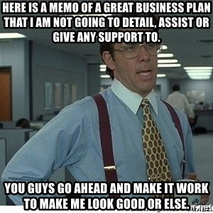 That would be great - Here is a memo of a great business plan that I am not going to detail, assist or give any support to. You guys go ahead and make it work to make me look good or else.