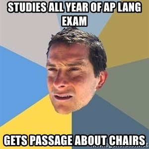Bear Grylls - Studies all year of Ap Lang Exam Gets passage about chairs