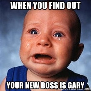 Crying Baby - When you find out your new boss is Gary