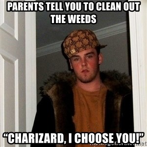 """Scumbag Steve - Parents tell you to clean out the weeds """"Charizard, I choose you!"""""""