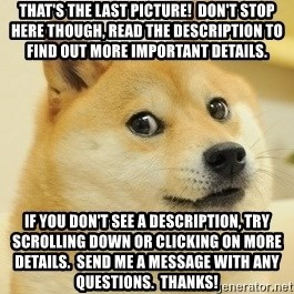 Dogeeeee - That's the last picture!  Don't stop here though, read the description to find out more important details. If you don't see a description, try scrolling down or clicking on More Details.  Send me a message with any questions.  Thanks!