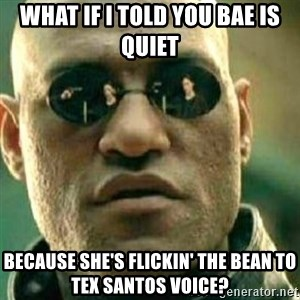 What If I Told You - what if i told you bae is quiet because she's flickin' the bean to tex santos voice?