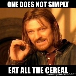 Does not simply walk into mordor Boromir  - ONE DOES NOT SIMPLY EAT ALL THE CEREAL