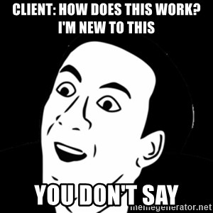 you don't say meme - Client: how does this work? i'm new to this you don't say