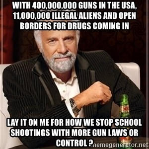 The Most Interesting Man In The World - with 400,000,000 guns in the USA, 11,000,000 illegal aliens and open borders for drugs coming in LAY IT ON ME FOR HOW WE STOP SCHOOL SHOOTINGS WITH MORE GUN LAWS OR CONTROL ?