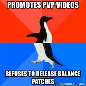 Socially Awesome Awkward Penguin - promotes PvP videos refuses to release balance patches