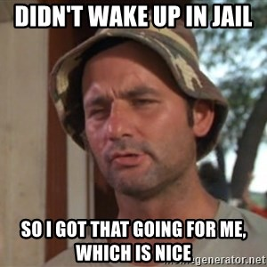 So I got that going on for me, which is nice - Didn't wake up in jail So I got that going for me, which is nice