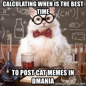 Chemistry Cat - Calculating when is the best time to post cat memes in dmania