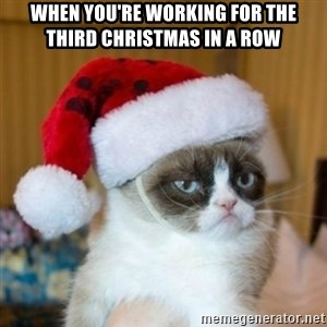 Grumpy Cat Santa Hat - When you're working for the third christmas in a row