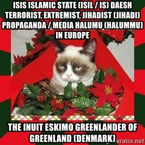 GRUMPY CAT ON CHRISTMAS - ISIS Islamic State (ISIL / IS) Daesh Terrorist, Extremist, Jihadist (Jihadi) Propaganda / Media Halumu (Halummu) in Europe  The Inuit Eskimo Greenlander of Greenland (Denmark)