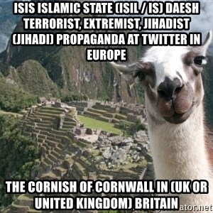 Bossy the Llama - ISIS Islamic State (ISIL / IS) Daesh Terrorist, Extremist, Jihadist (Jihadi) Propaganda at Twitter in Europe  The Cornish of Cornwall in (UK or United Kingdom) Britain