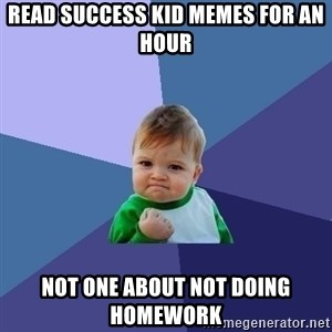Success Kid - read success kid memes for an hour not one about not doing homework