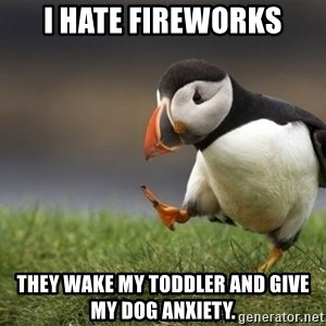 Unpopular Opinion Puffin - I hate fireworks They wake my toddler and give my dog anxiety.