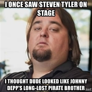 chumlee - i once saw steven tyler on stage i thought dude looked like johnny depp's long-lost pirate brother