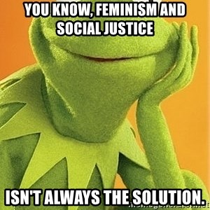 Kermit the frog - you know, feminism and Social justice  isn't always the solution.