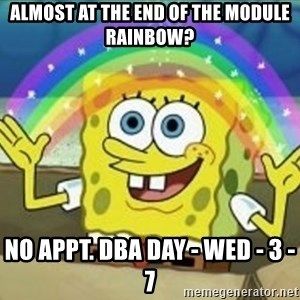 Spongebob - Almost at the end of the module rainbow? No appt. DBA day - Wed - 3 - 7
