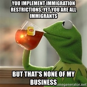 Kermit The Frog Drinking Tea - You implement immigration restrictions, yet you are all immigrants But that's none of my business