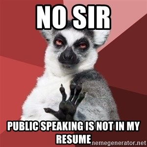 Chill Out Lemur - No sir public speaking is not in my resume