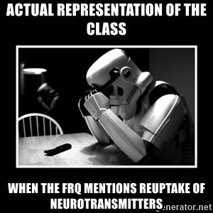 Sad Trooper - Actual representation of the class when the frq mentions reuptake of neurotransmitters