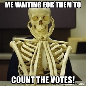 Skeleton waiting - Me waiting for them to Count the votes!