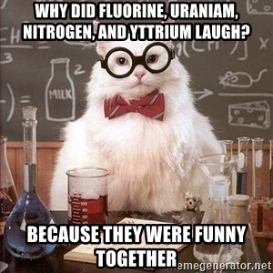 Chemistry Cat - Why did fluorine, uraniam, nitrogen, and yttrium laugh? Because they were FUNNY together