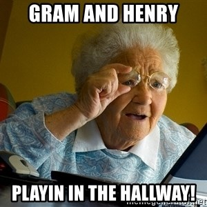 Internet Grandma Surprise - Gram and Henry  Playin in the hallway!