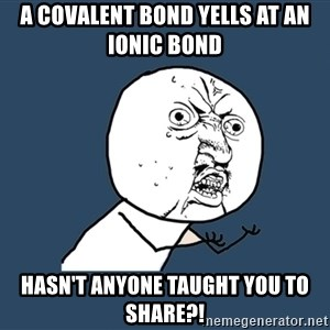 Y U No - A covalent bond yells at an ionic bond hasn't anyone taught you to share?!