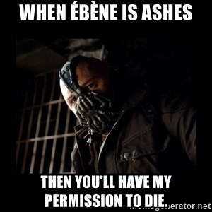 Bane Meme - When Ébène is ashes Then you'll have my permission to die.