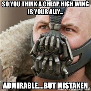 Bane - So you think a cheap High Wing is your Ally... Admirable....But Mistaken