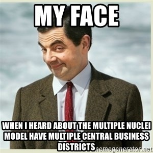 MR bean - my face  when i heard about the multiple nuclei model have multiple central business districts