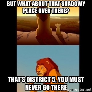 Lion King Shadowy Place - But what about that shadowy place over there? That's district 5, you must never go there