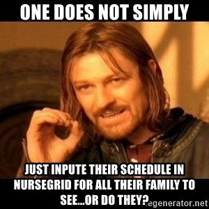 Does not simply walk into mordor Boromir  - One does not simply Just inpute their schedule in NurseGrid for all their family to see...or do they?
