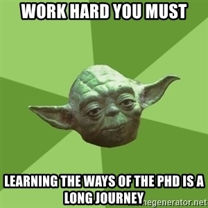 Advice Yoda Gives - WORK HArD you must learning the ways of the phd is a long journey