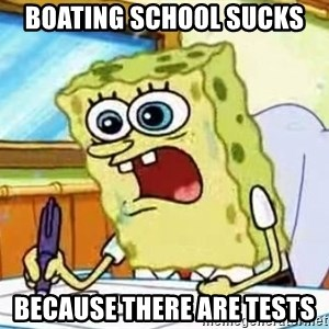 Spongebob What I Learned In Boating School Is - boating school sucks  because there are tests