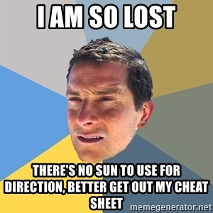 Bear Grylls - I am so lost There's no sun to use for direction, better get out my cheat sheet
