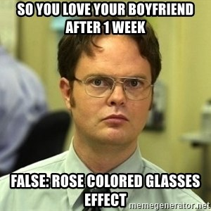 Dwight Schrute - So you love your boyfriend after 1 week False: Rose colored glasses effect