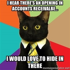 Business Cat - I HEAR THERE'S AN OPENING IN ACCOUNTS RECEIVALBE... I WOULD LOVE TO HIDE IN THERE