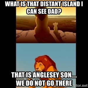 Lion King Shadowy Place - What is that distant island I can see Dad? That is Anglesey Son....             We do not go there