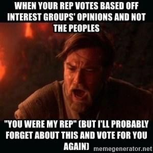 "Obi Wan Kenobi ""You were my brother!"" - When your rep votes based off interest groups' opinions and not the peoples ""You were my rep"" (but I'll probably forget about this and vote for you again)"