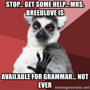 Chill Out Lemur - stop... get some help... Mrs. Breedlove is available for grammar... not ever
