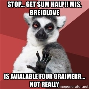 Chill Out Lemur - stop... get sum halp!! mis. Breidlove is avialable four graimerr... not really