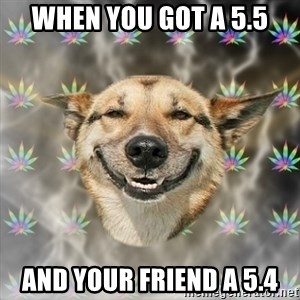 Stoner Dog - When you got a 5.5 and your friend a 5.4