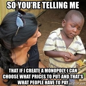 So You're Telling me - so you're telling me that if i create a monopoly, i can choose what prices to put and that's what people have to pay