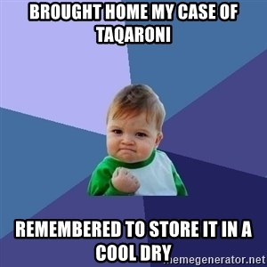 Success Kid - brought home my case of taqaroni remembered to store it in a cool dry