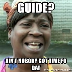 Ain't nobody got time fo dat so - Guide? Ain't nobody got time fo dat