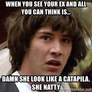 Conspiracy Keanu - when you see your ex and all you can think is...  damn she look like a catapila. she natty