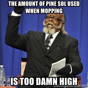 Rent Is Too Damn High - The amount of pine Sol used when mopping Is too damn high