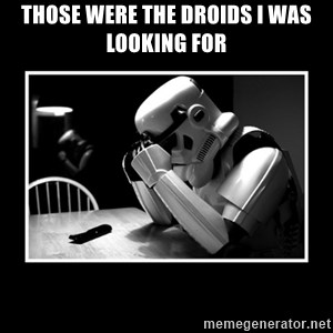 Sad Trooper - Those WERE the droids I was looking for