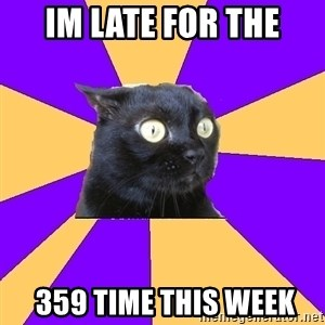 Anxiety Cat - im late for the  359 time this week